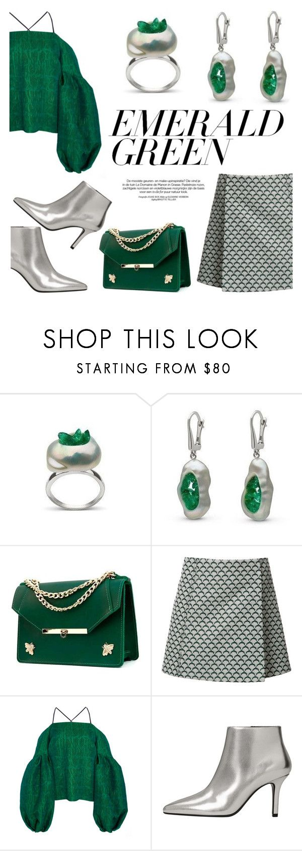 """""""Emerald City: Pops of Green"""" by littlehjewelry ❤ liked on Polyvore featuring Angela Valentine Handbags, Misha Nonoo, Hellessy and MANGO"""