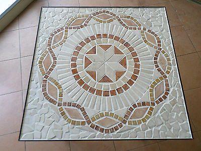 Tavolo in ferro battuto con mosaico in pietra stile rustico country artigianale