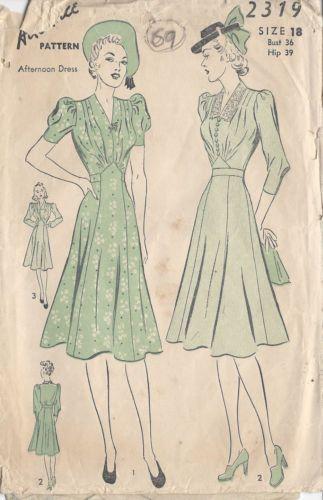"1940s Vintage Sewing Pattern DRESS B36"" (69)   eBay"