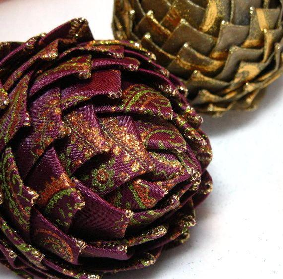 Collectible Christmas Ornament purple and gold by GingerlySpice, $20.00