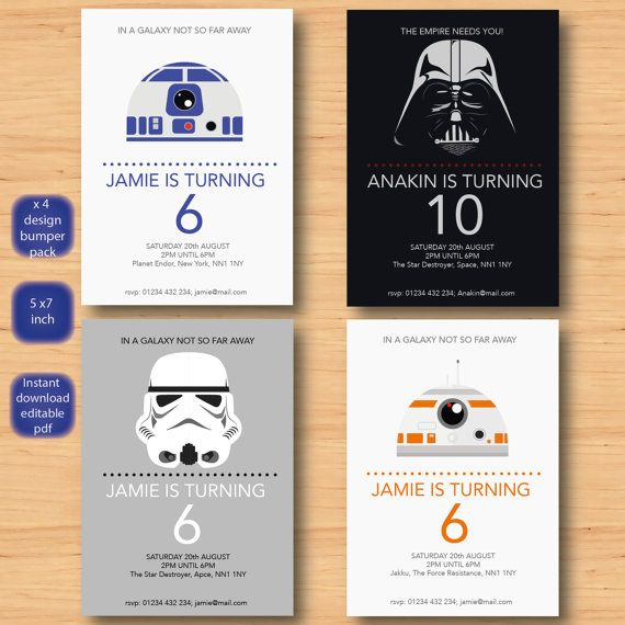 star wars x 4 invitations set - SELF EDITABLE PDF - all 5 x 7 inch Customisable star wars Printable Birthday Party Invite - Instant Download