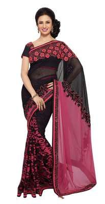 Ishita Luxurious Sequins Bordered Net Brasso Half-Half Saree Bollywood Sarees Online on Shimply.com