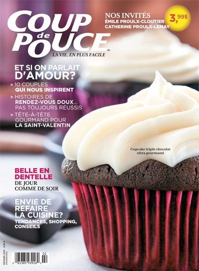 En couverture de notre magazine de février 2013: Nos cupcakes triple chocolat.