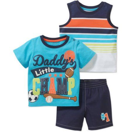 Healthtex Newborn Baby Boy Short Sleeve Graphic Tee Tank and Short Clothing Outfit Set, Blue