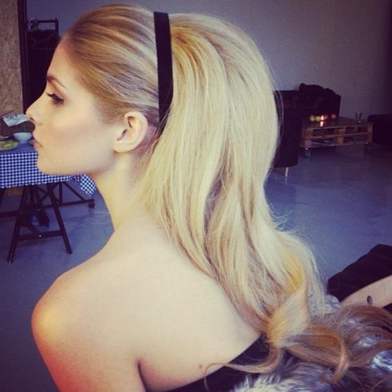 Black headband with blonde hair
