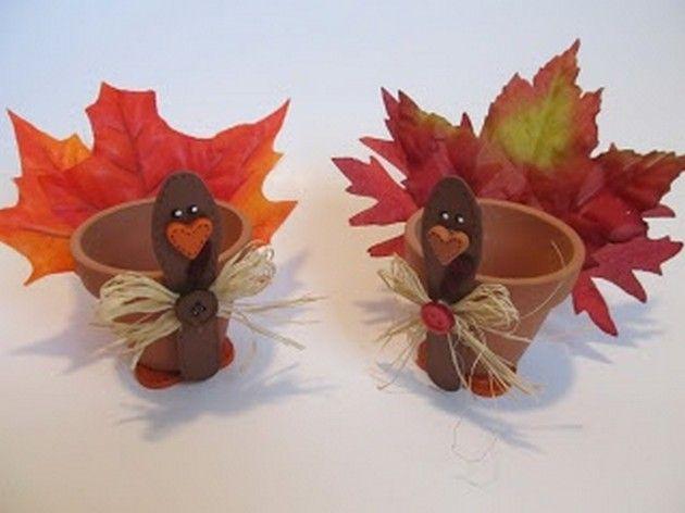 Thanksgiving DIY Ideas (17 Pics) Clay pot turkeys