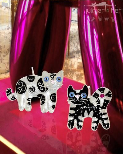 Feline Friends Cat Silver Earrings - A whimsical pair of non-matching cat shaped earrings designed by Julie Mammano.  These colourful earrings have been hand painted with enamels by talented artists to create an outstanding pair of silver plated earrings. Free Express Shipping within Australia
