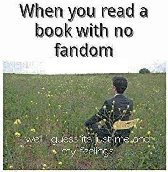 Quando você lê um livro sem fandom: Bem,eu acho que somos apenas eu e meus sentimentos.
