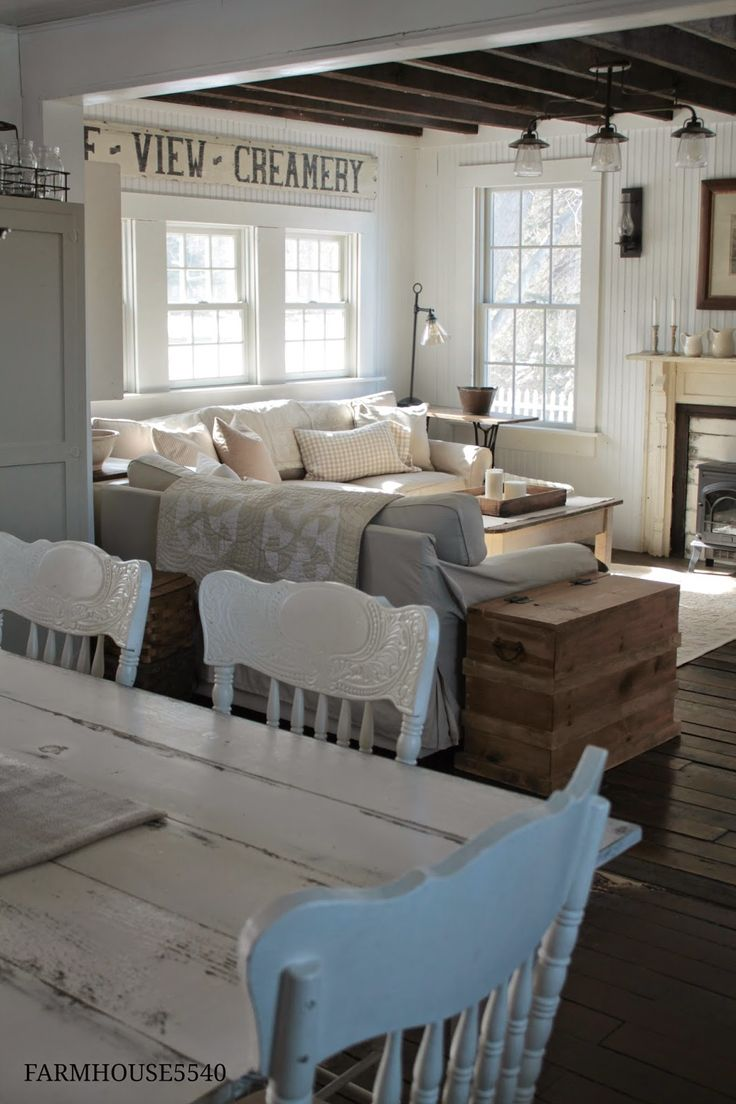 Country Farmhouse - white walls and furnishings bring it all together and  give it that collected-over-time feel - FARMHOUSE 5540