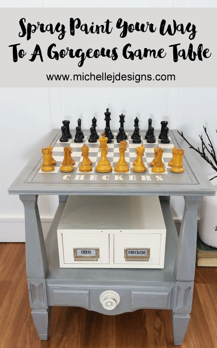 Spray Paint Your Way To A Gorgeous Game Table And Storage For Game Pieces.