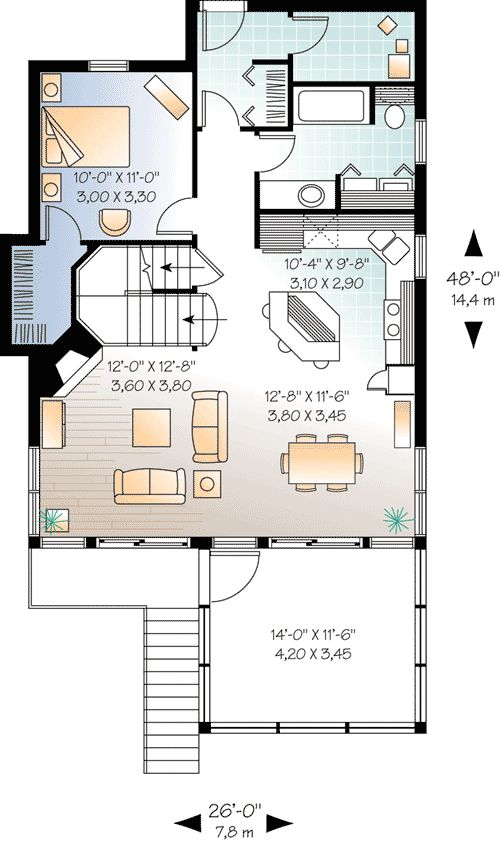 Plan 21571dr Four Seasons Sloping Lot Cottage 2nd Floor