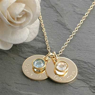 Personalize this mothers birthstone necklace that can be hand stamped with any name on a gold filled silver disc. This one is a great gift idea for mothers.