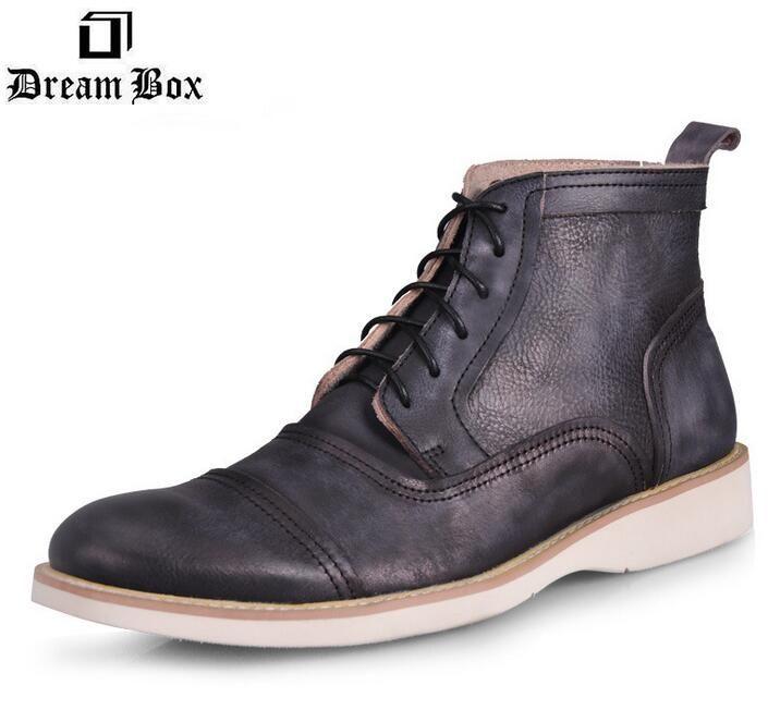 Зимние сапоги марка ретро кисти цвет кожи зимние ботинки, Кожа мужчин-британских мужчины ковбойские сапоги мужская мода зимние ботинки