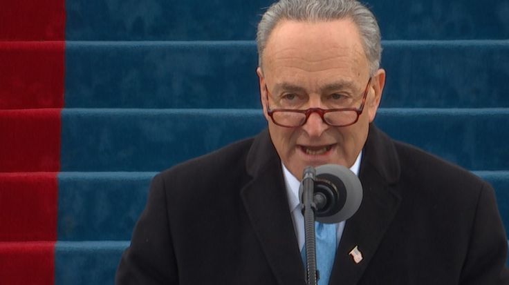 Senate Minority Leader Chuck Schumer, the only Democrat to speak during the program, was interrupted several times by boos as he gently rebuked Trumpism.  The New York senator was about to say that he's the confident the country will persevere, but the Trump fans in the crowd didn't hear that part because they were booing.