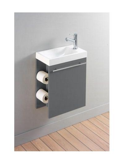 Meuble lave-mains complet pour WC avec distributeur de papier couleur gris anthracite - Salle de bain, WC