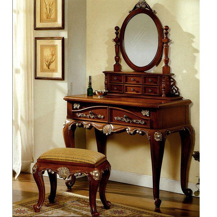 Queen Anne Bedroom Vanity Set Mahogany Antique Furniture Indonesia House Dresser Sets