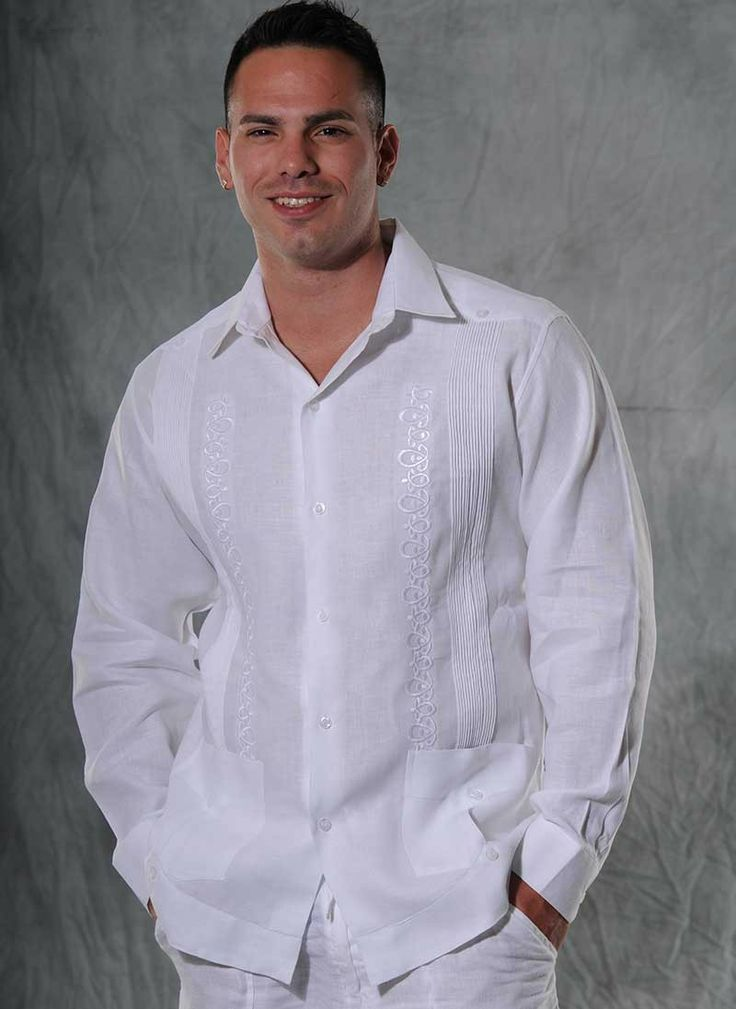 Guayabera Linen for Wedding. Rounded embroidery. Made by GCubanas. - Premium Hight Quality Italian Linen Guayabera. Guayabera style. Mexican tucks.These Mexican wedding shirts  are long sleeves. Convertible Cuff. White.Dry Clean for best result.A classic an sublimely soft  Linen 100 %.Manufacture in Mexico By GuayaberasCubanas.Just call us for Grooms wedding colors. Availability is subject to change.Allow 3 weeks for delivery for standard tab delivery.