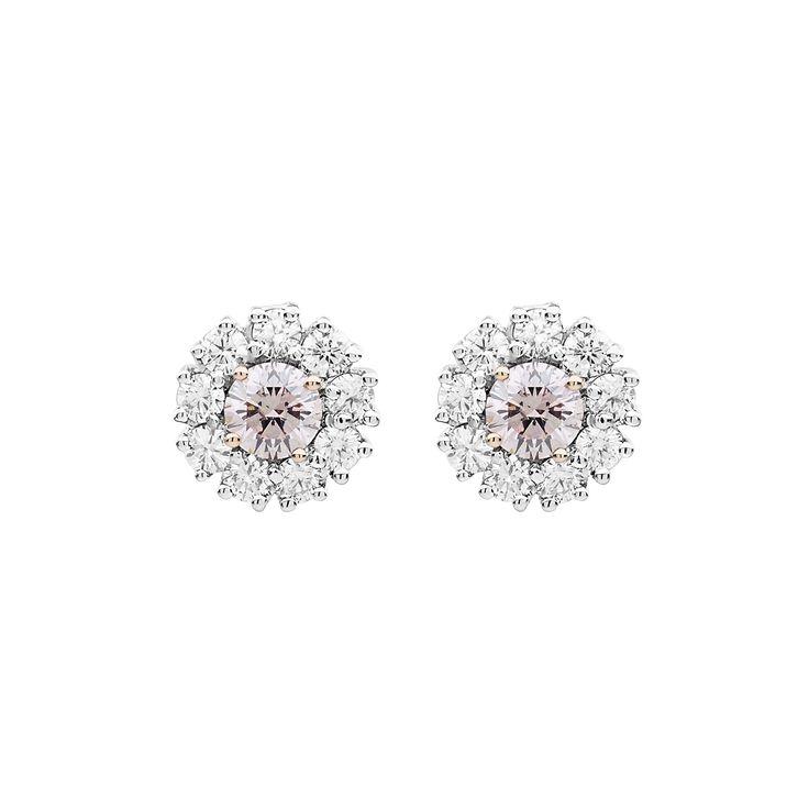 Jan Logan Pink and White Diamond Serranos Earrings