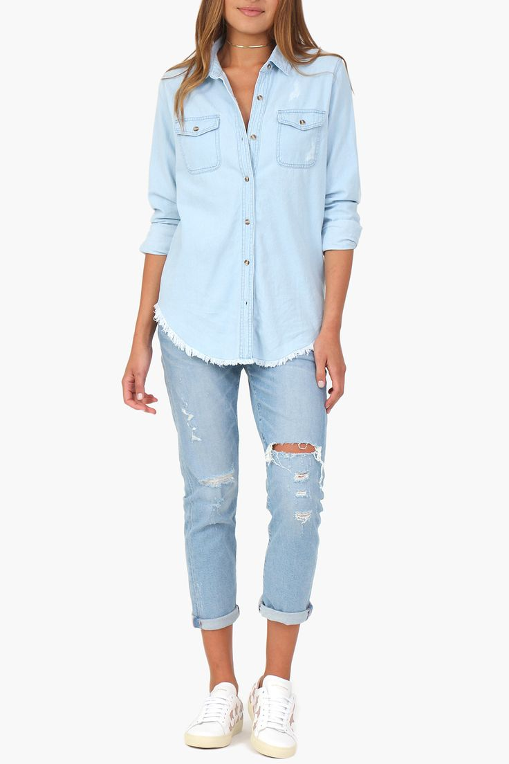 Light-wash Denim Button Down