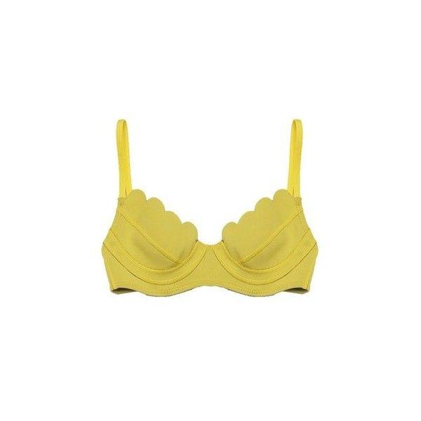 Cynthia Rowley Chartreuse Scallop Trim Bikini Top ($105) ❤ liked on Polyvore featuring swimwear, bikinis, bikini tops, beachwear, yellow, tankini tops, swim tops, swim suit tops, underwire bikini tops and scalloped bikini