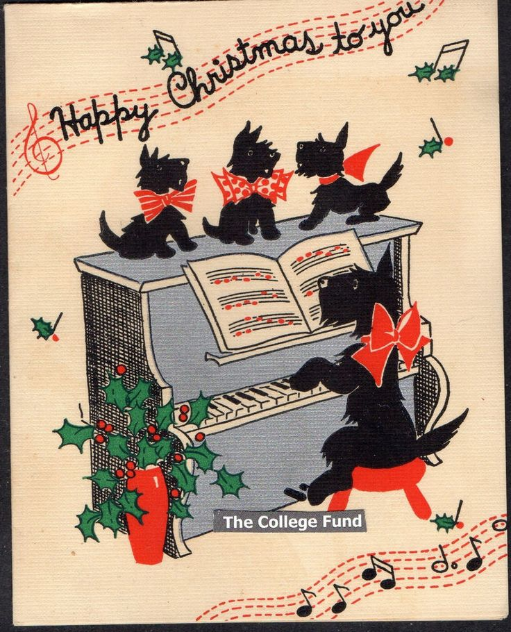 Vtg 1939 SINGING SCOTTY DOGS At SILVER PIANO w MUSICAL NOTES Xmas Greeting Card