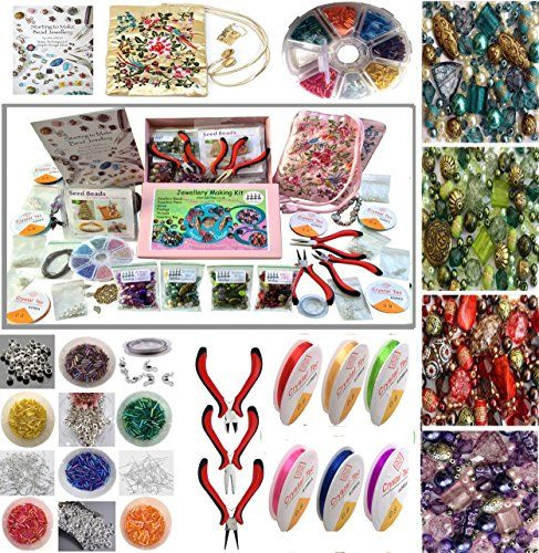 Adults Deluxe Jewelry Making Beads Mix Pliers Findings St...