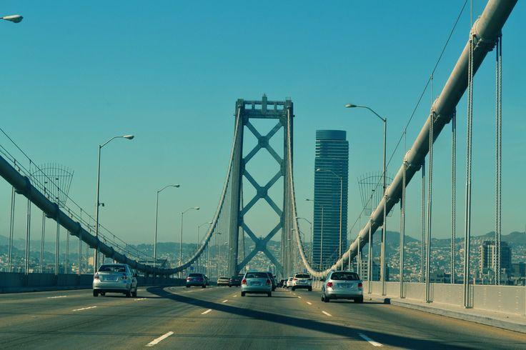Cars, street, bridge, driving