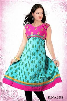 Blue casual wear anarkali style kurti @ just Rs. 755
