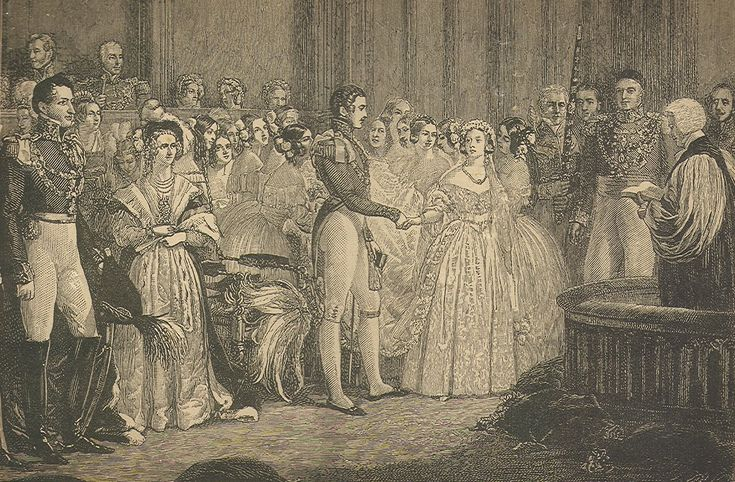 """Marriage of Queen Victoria and Prince Albert, Feb. 10, 1840. Engraving scanned from 19th century book, """"True Stories of the Reign of Queen Victoria"""" by Cornelius Brown, 1886. Photo from Wikimedia Commons"""