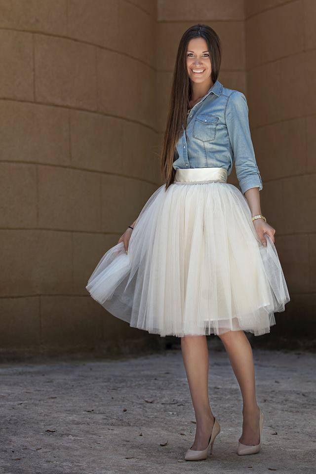 Simple white tulle skirt handmade by Stavrianna Georgiadi