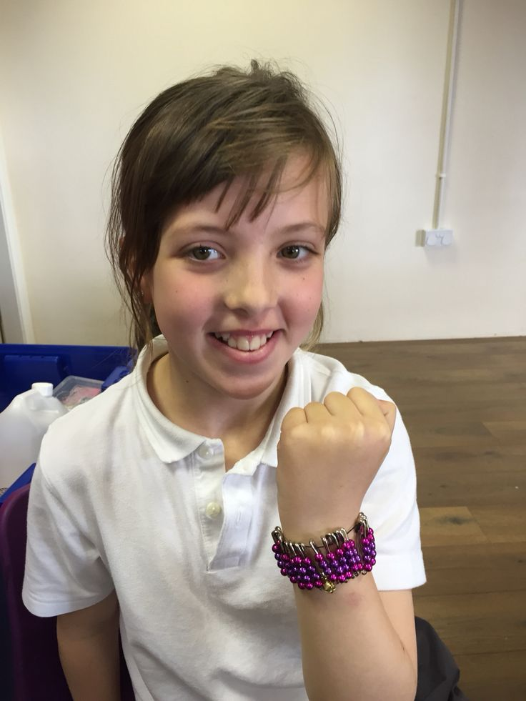 Fabulous Bracelet made from beads & safety pins in our class