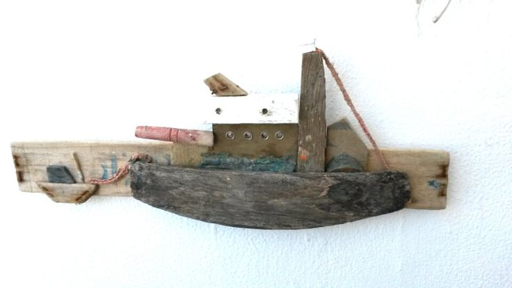 Greek Natural Driftwood Boat Wallhanging and/of Table Decor in Brown Rustic Mediterranean Nautical Beach Decor Style. by WillyaCollection on Etsy
