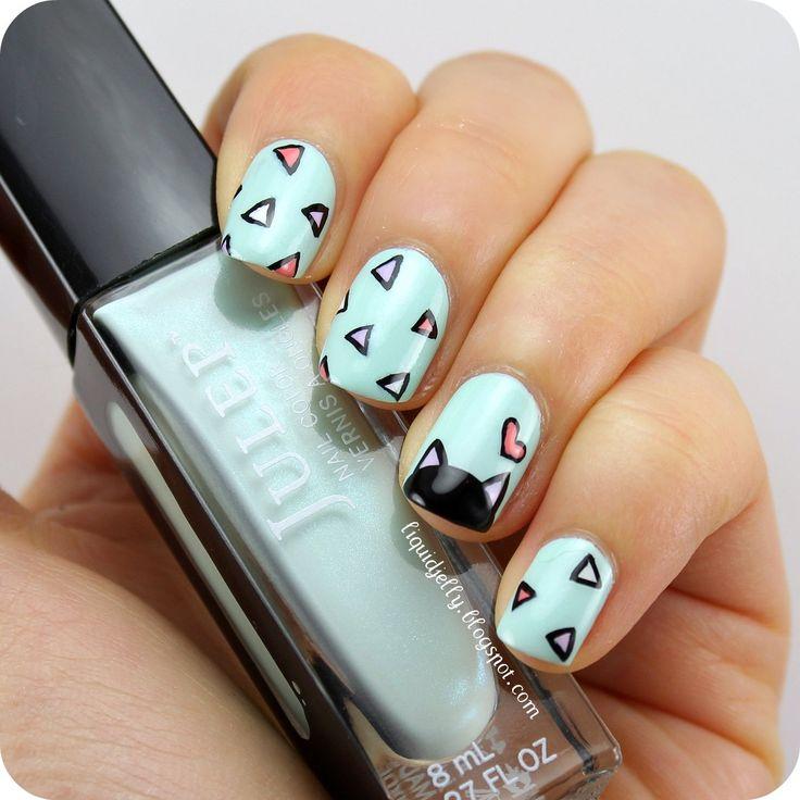 nail art | Spring Kitty Nail Art