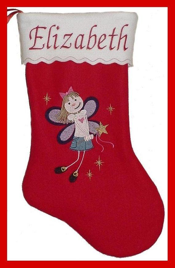 Personalized Embroidered Fairy Princess Felt Christmas Stocking Embroideredstocking Angel Personalized Christmasstocking