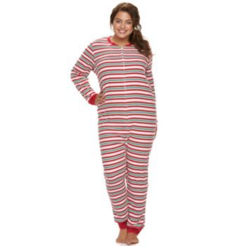 Jammies For Your Families Juniors' Plus Size Striped One-Piece Pajamas