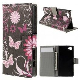 Sony Xperia Z5 Compact kukkia ja perhosia puhelinlompakko.