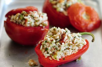 Slimming World's spicy rice stuffed vegetables