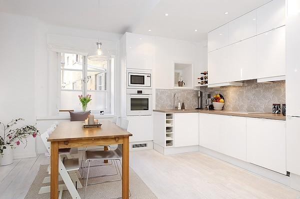 White Scandinavian Kitchen Minimalist Very Nice I Love With A Kitchen Dining Room Combo Isn