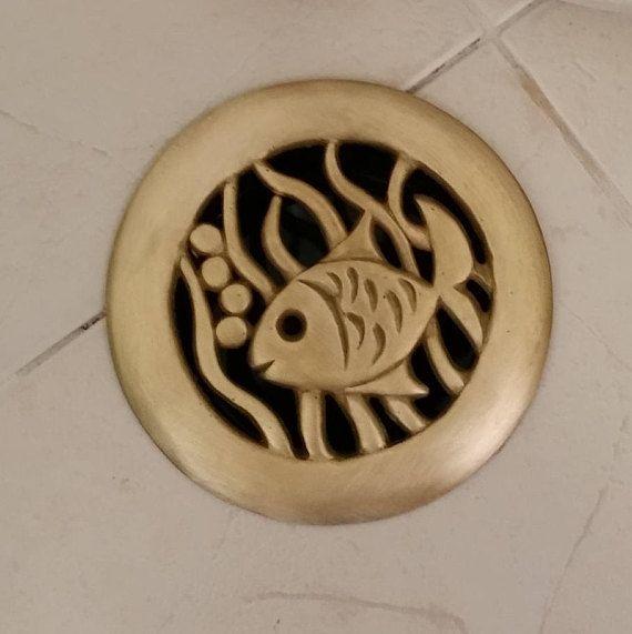 Handmade round Brass gold fish decorative shower drain Home