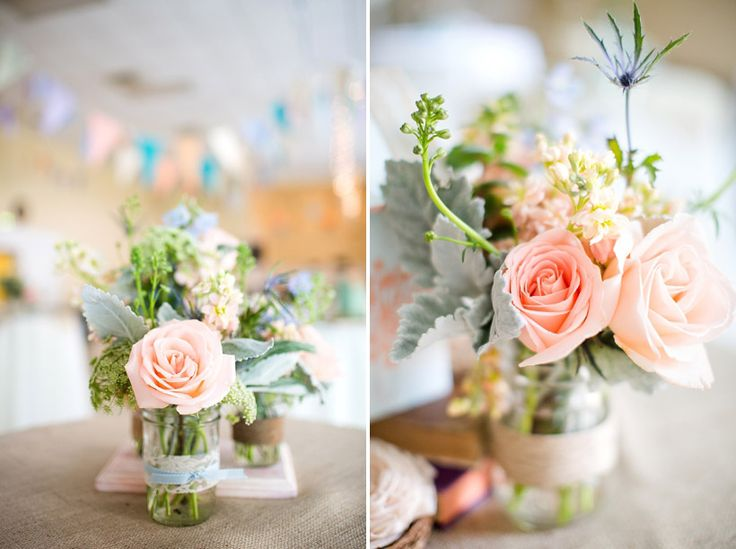 Katelyn James; garden-DIY-Wedding_859; cute small flower arrangements, recycled glassware