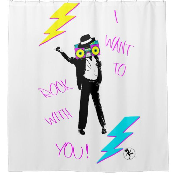 Silhouette Portrait Of King Of Music Boombox 80s Shower Curtain En