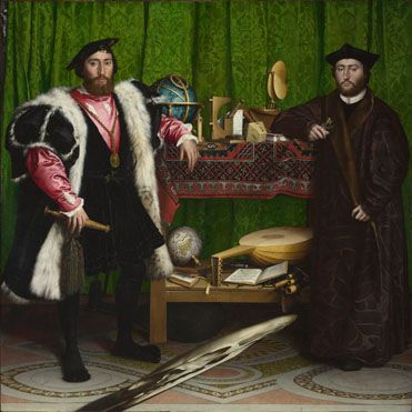 The Ambassadors, 1533, Hans Holbein the Younger, with an anamorphosis (the skull). (National Gallery)