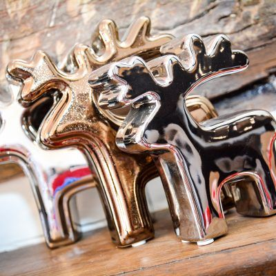 Silver and Gold Reindeers. Christmas ornaments and decorations for the home. Buy online at The Frame Gallery, Odiham.