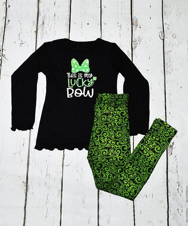 0e81fe2bae72f Black 'Lucky Bow' Tee & Green Shamrock Leggings - Toddler & Girls. Find  this Pin and more on Saint Patrick's day ...