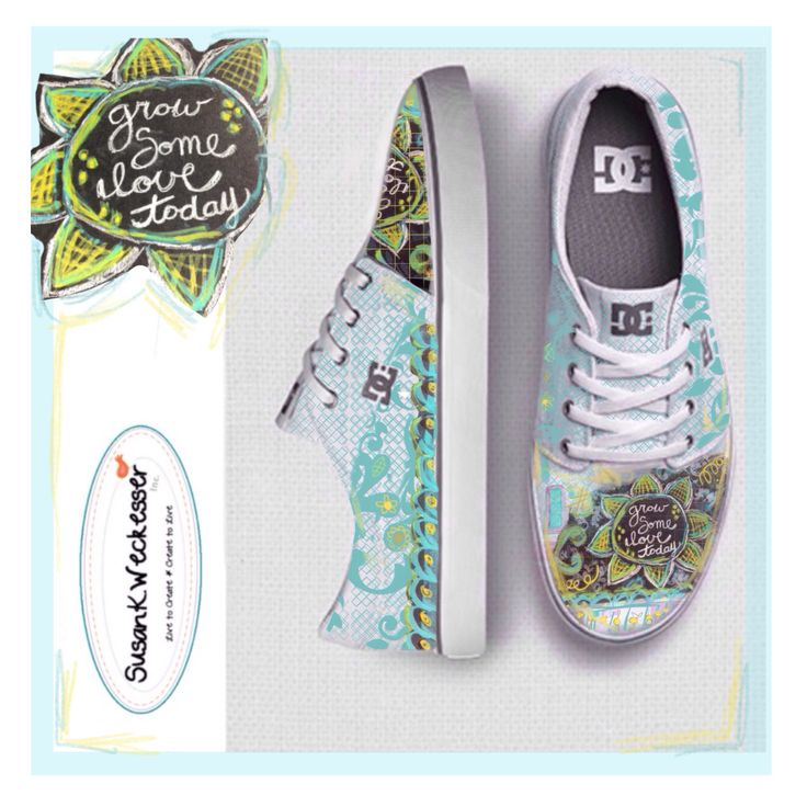 "Design my first ever pair of shoes! Come see & vote and see the other wonderful pairs! ""Grow Some Love Today"" by Susan K. Weckesser sponsored by DC Shoes #surfacedesign #designer"