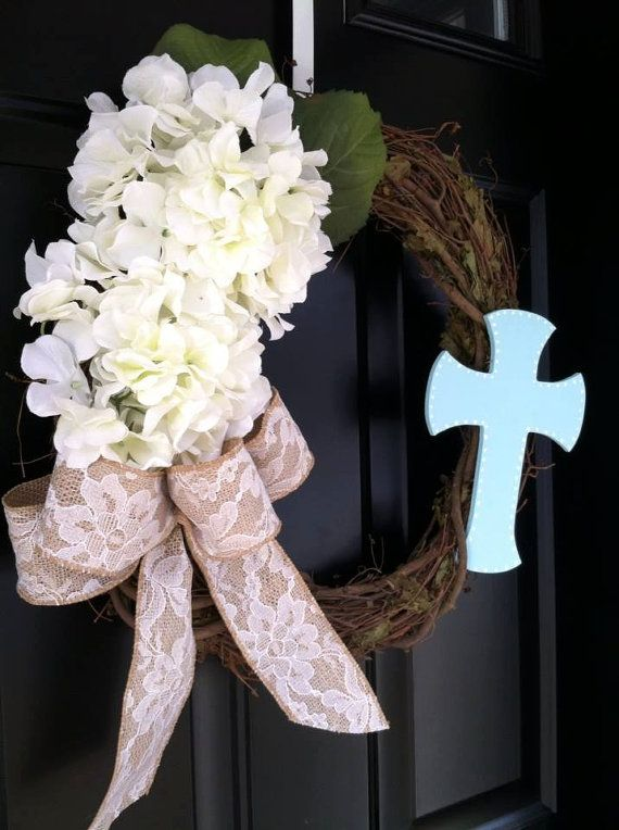 Easter Wreath Cross Religious Spring By JennyCmoon