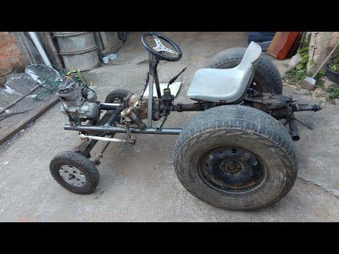 Trator caseiro com motor de moto 125cc, faça você mesmo! Parte 5 (setor de direção) - YouTube