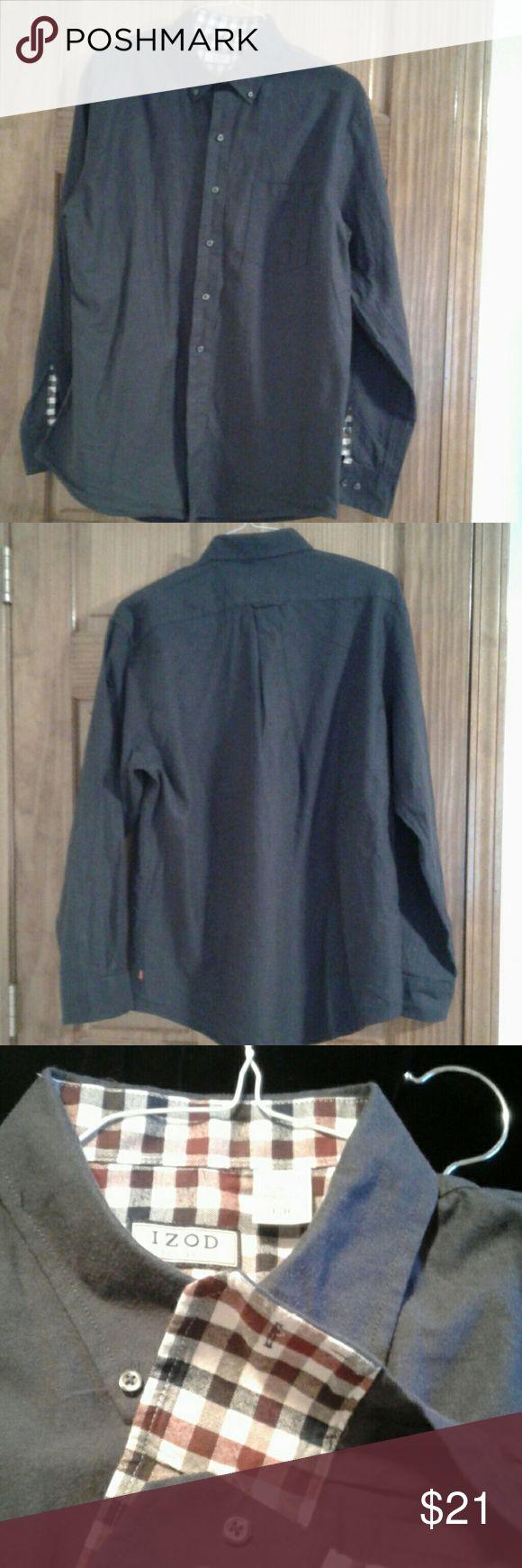 BOGO Izod men's flannel shirt large blue Izod men's flannel shirt large blue Izod Shirts Casual Button Down Shirts