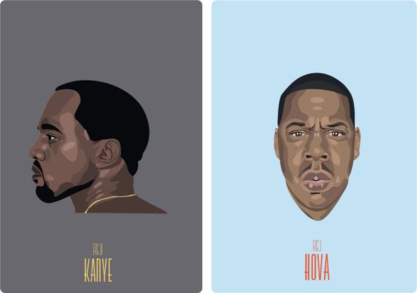 Comissioned Rapper Posters by Britt Manning, via Behance