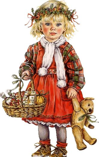 """The blogger calls her """"Little Red Riding Hood."""" I think she's a Christmas child with a wreath of holly on her head and a basket of goodies/gifts. You may see something else in the image . . ?"""